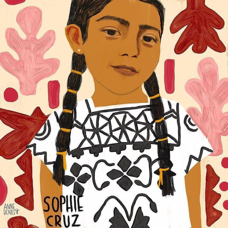 My artist Anne Bentley @annembentley writes: A remarkable American girl Sophie Cruz  #immigrantsmakeamericagreat #countryofimmigrants #immigrationactivist #sophiecruz #bookillustration #aclu #illustration #painting