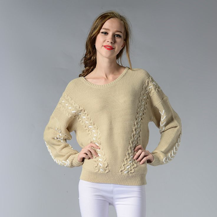Women Sweaters and Pullovesr Winter 2017 Loose Knitwear O Neck Long Sleeve Beige Woven Maglie Donna Autunno Chandail Femme