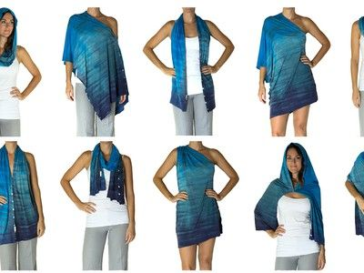 Kooshoo's sustainable shawl is 12 garments in 1  This could easily be knitted.