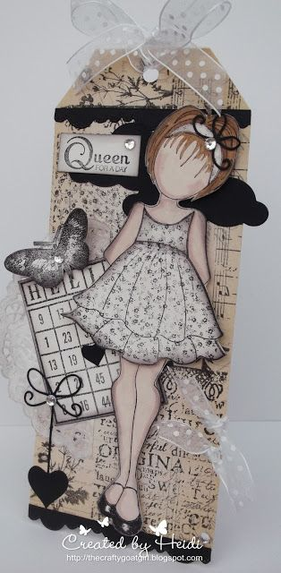 Prima - Julie Nutting stamp - Doll with Ruffle Dress. One of my favourites!