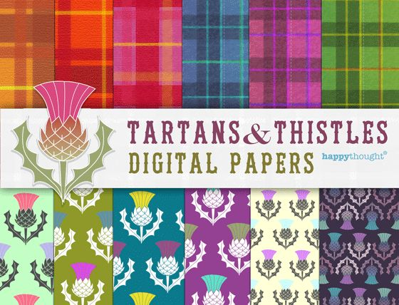 The Best Tartan and Thistle artwork kit - 12 digital papers! #burnsnight #tartan https://happythought.co.uk/product/tartan-and-thistle