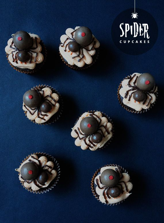 DIY Easy Spider Cupcakes Tutorial and Recipe from Little White Whale. These cupcakes are easy to make because you are using Whoppers (malted milk balls) for the spiders' bodies and smaller chocolate...