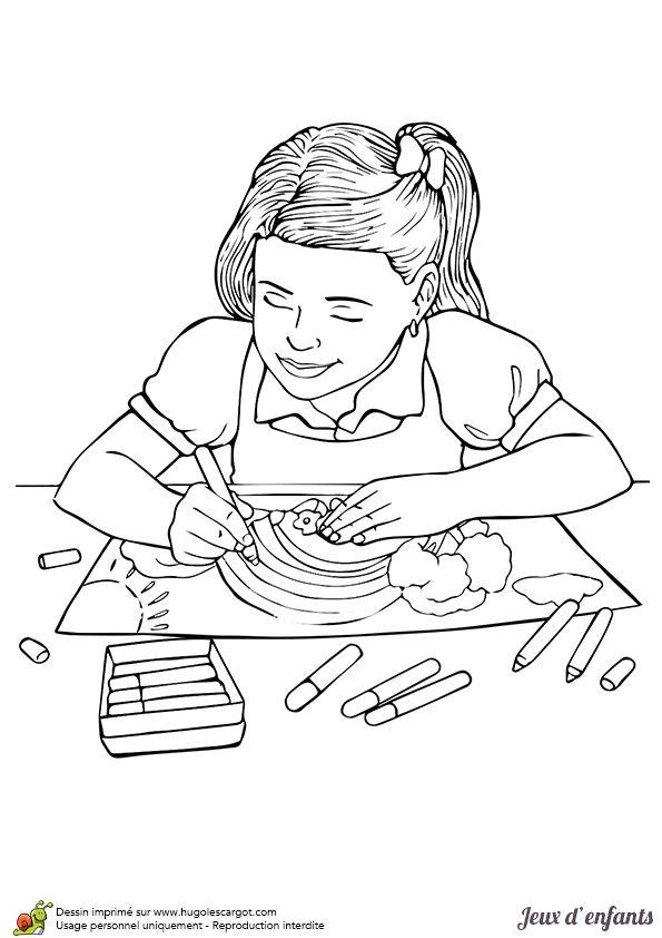 dessin colorier d une petite fille entrain de faire du coloriage coloriages enfants. Black Bedroom Furniture Sets. Home Design Ideas