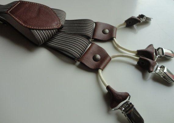 BRETELLA GESSATO MARRONE doppia clips. Particolari in vera pelle di colore marrone, largh. cm 3,5 modello a Y. By SuspendersTime #italiasmartteam #etsy
