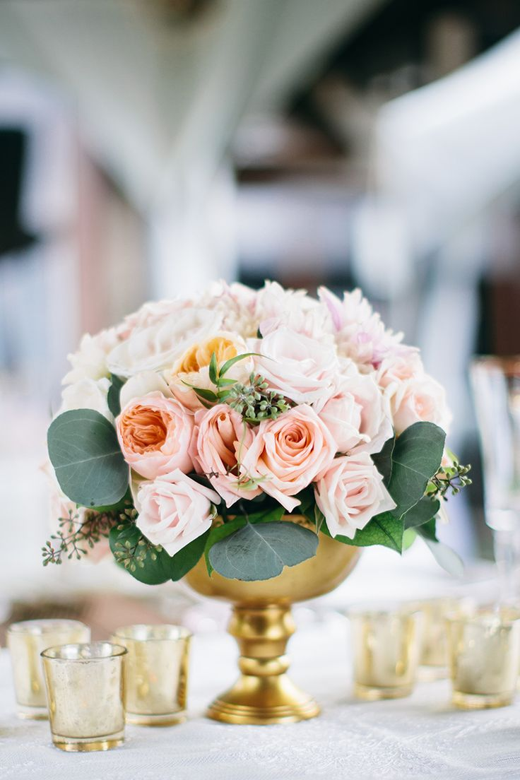 Romantic Pastel Wedding Centerpiece in a Vintage Gold Compote | Christina Heaston Photography on @jetfete
