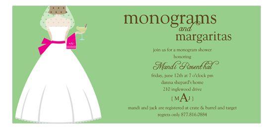 Monograms and Margaritas Brunette Bridal Shower Invitation | Shower Invitations