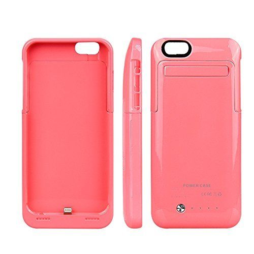 Pink coloured mobile phone charger case for iPhone 6 6s mobile phones
