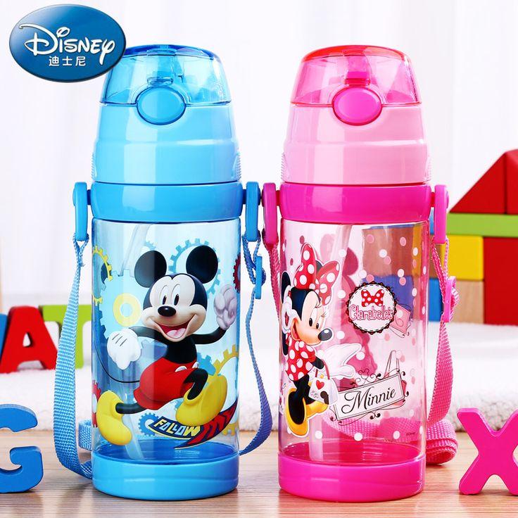 SB60173 500ml Water Bottle Mickey Mouse Kids straw Water Bottle Baby water Cup Cartoon Plastic Water Tumbler BPA Free