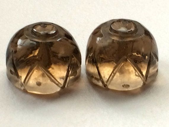 Smoky Brown Glass Drilled Drops Glass Hand Carved by gemsforjewels