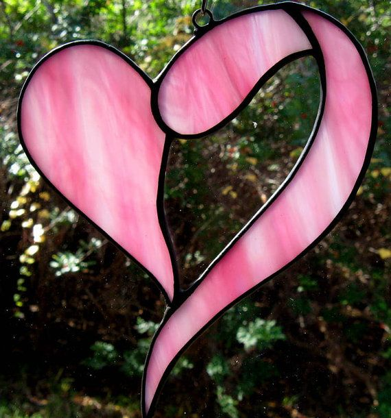 Pink Heart Stained Glass Suncatcher by ShiningStarGlass on Etsy, $8.50
