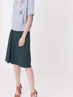 Crêpe fabric A-line skirt