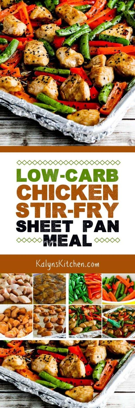 Marinate the chicken while you're at work, and this Low-Carb Chicken Stir-Fry Sheet Pan Meal can be on the table in less than 30 minutes. This is a meal the whole family will love, and it's low-carb, low-glycemic, dairy-free, South Beach Diet friendly, and can be gluten-free if you use gluten-free soy sauce. [found on KalynsKitchen.com] #LowCarb #LowCarbSheetPanMeal #LowCarbChickenStirFry #ChickenStirFrySheetPanMeal