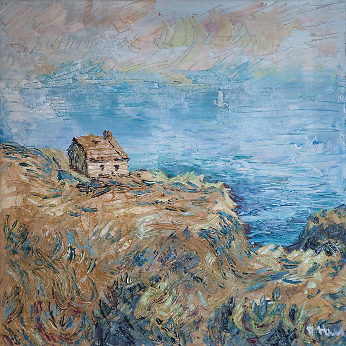 Na útese, olej na plátne 50 x 50 cm, Pavel Huszár, Banská Bystrica, Slovakia