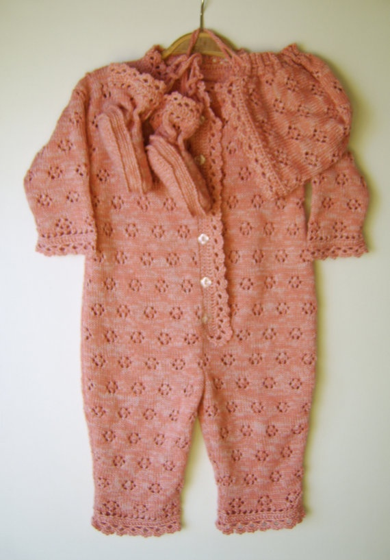 Knitting Patterns For Baby Jumpsuits : Knitted Baby Romper Suit with Booties and by SasasHandcrafts, USD78.00 child ...