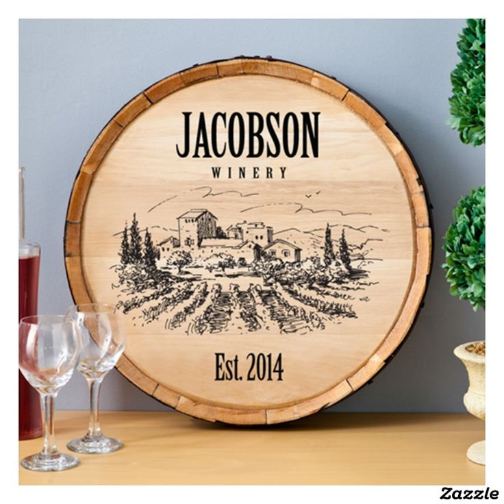 Personalized Wood Wine Barrel Home Decor Sign