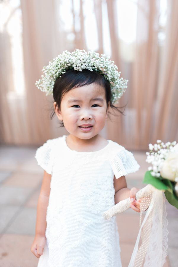 Baby's breath flower girl crown: http://www.stylemepretty.com/california-weddings/san-juan-capistrano/2016/11/14/modern-rustic-chic-wedding-in-california/ Photography: Hello Blue - http://hellobluephoto.com/