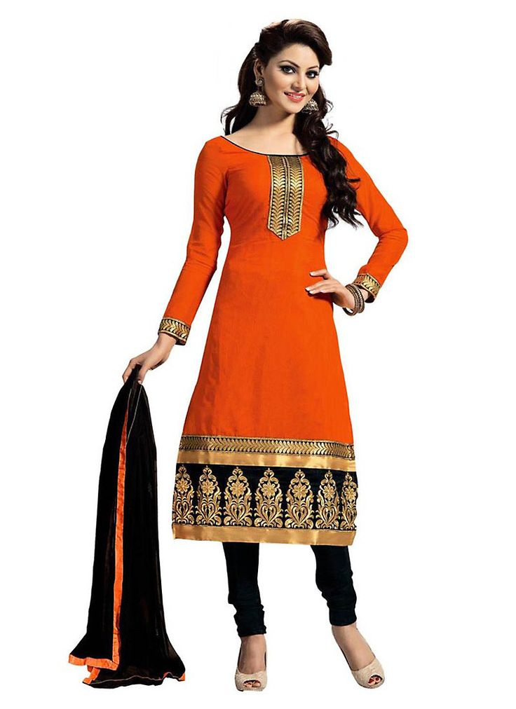 Orange Color Cotton Astounding Salwar Kameez in Straight Cut Style