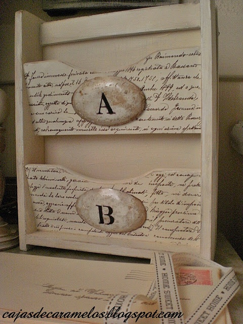 Enlarge handwritten letter or document & Modge Podge onto wooden accessory or furniture piece