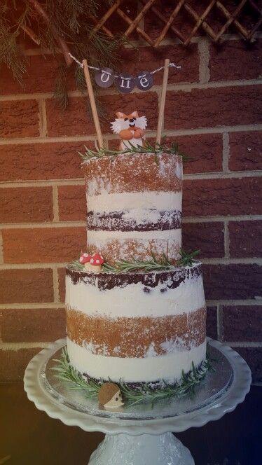 Woodland 1st birthday - naked cake. Homemade for my son Harrison.