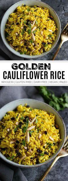 Golden Cauliflower Rice | how to cook cauliflower rice | cauliflower rice recipes | whole30 side dishes | gluten-free side dishes | dairy-free side dishes | vegan side dishes | paleo side dishes | gluten-free cauliflower rice | whole30 recipe ideas || The