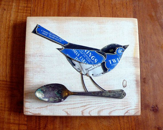 tin art  blue wren  wall art mixed media by littleblackrabbit. This is so sweet and recycled  :)