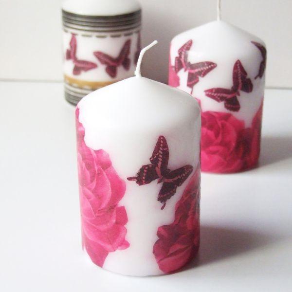 Esta diferente técnica de decoupage em velas não utiliza cola para decoupage (Foto: gatheringbeauty.com)