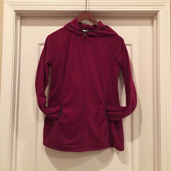 Purple fleece maternity zip up Medium maternity fleece hooded zip up. 100% polyester. Worn once! No pilling or flaws! It's a little more purple in real life than the pictures show. Motherhood Maternity Jackets & Coats