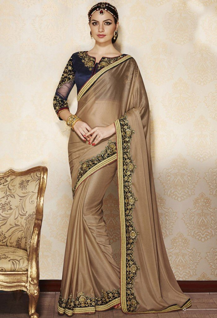 Beige Traditional Lycra Saree..@ fashionsbyindia.com #designs #indian #fashion #womens #style #cloths #fashion #stylish #casual #fashionsbyindia #punjabi #suits #saree