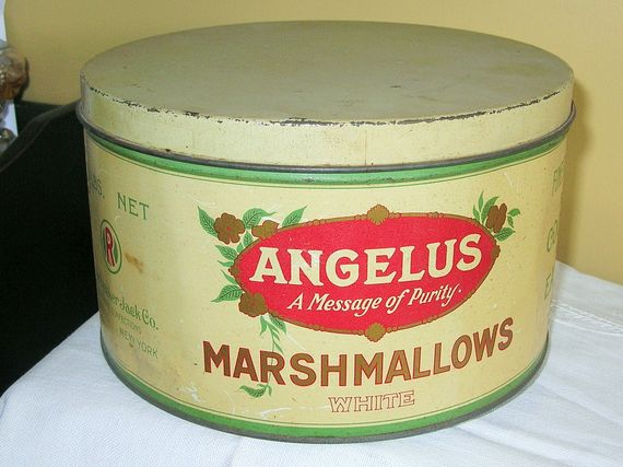 Angelus Marshmallows tin  A Message of Purity.   The Cracker Jack Co.   $49.99 Ebay auction