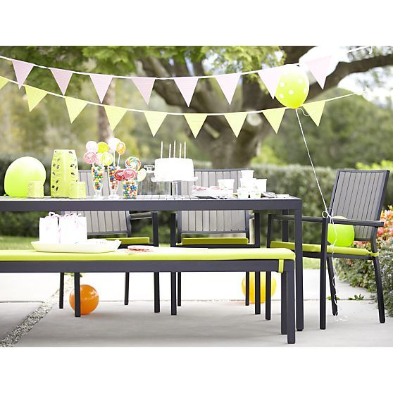 Alfresco Grey Dining Bench With Sunbrella® Apple Cushion In Alfresco Grey |  Crate And Barrel