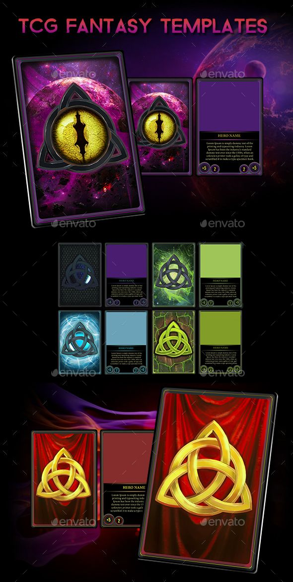 Fantasy TCG/CCG Cards HD Templates User Interfaces Game