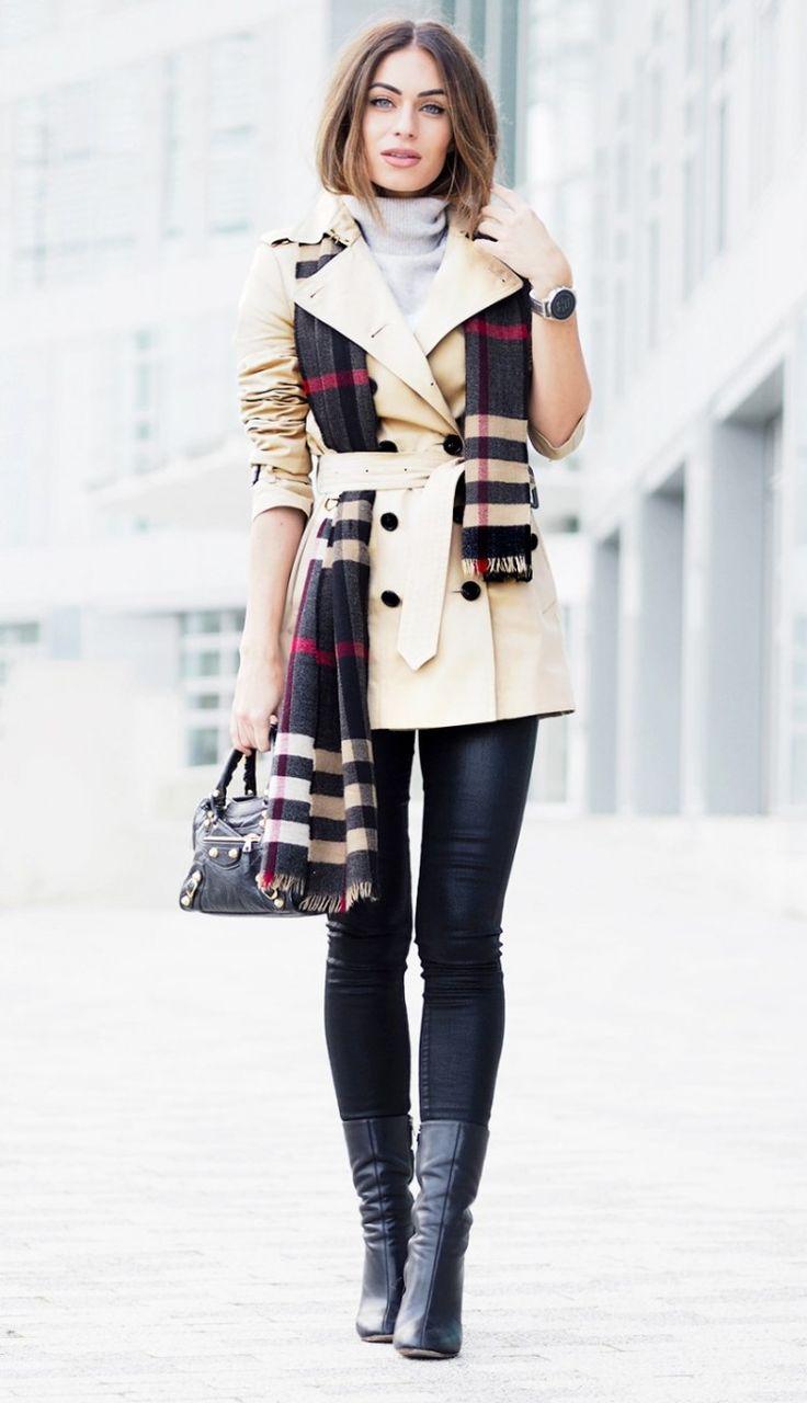 #street #styles / tartan scarf + beige coat