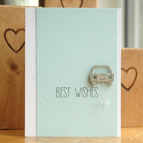 Follow a step-by-step photo tutorial to create this sparkly wedding card.