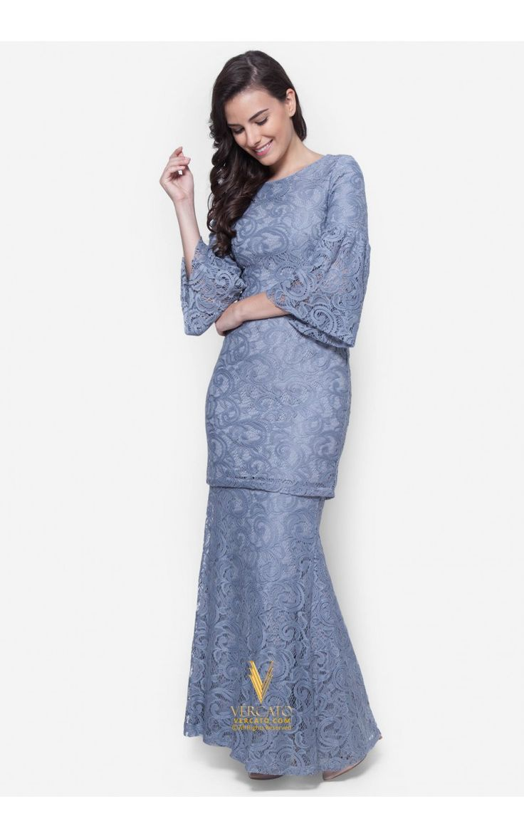 Baju Kurung Moden Lace - Vercato Nora in Grey. Buy simple and elegance flare sleeve lace baju kurung set. SHOP NOW: www.vercato.com