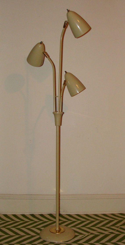 Tall Retro Bullet Floor Lamp Atomic Metal 3 Cone Self