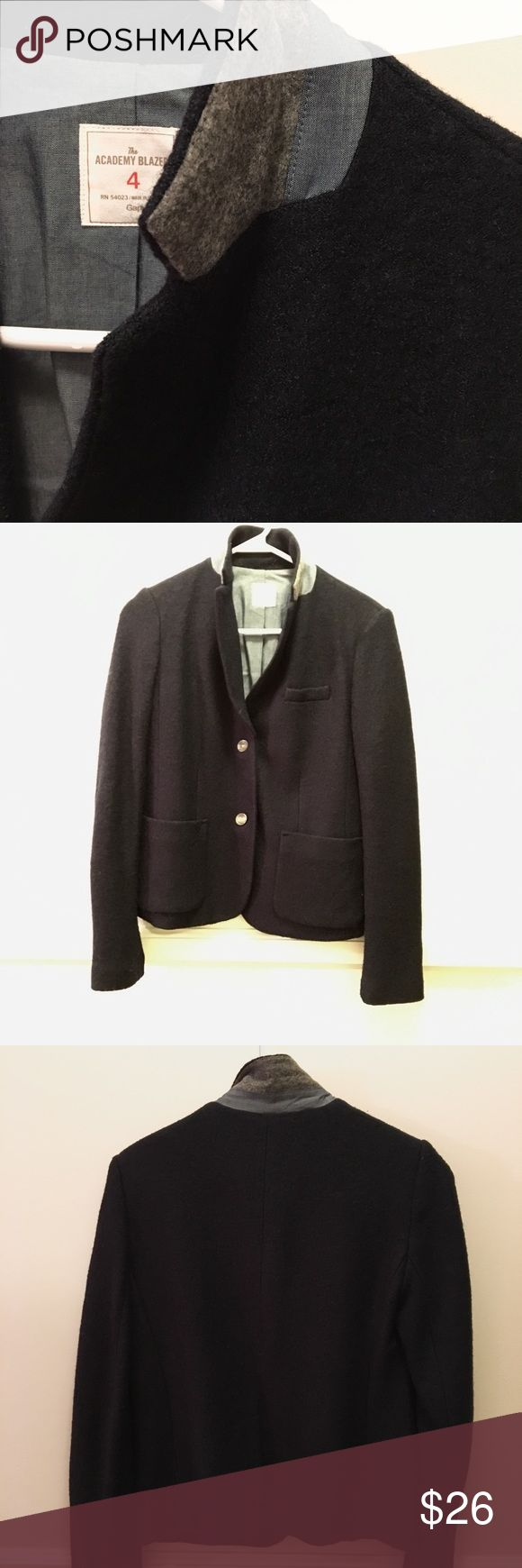"""Navy wool blazer Classic navy blue all wool blazer with contrasting cuff and collar. Size 4. Perfect condition. Worn by 5'7"""" at 130 lbs. GAP Jackets & Coats Blazers"""