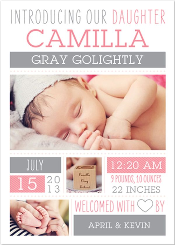 Baby Announcement announcing the birth of my first baby from #tinyprints by April Golightly