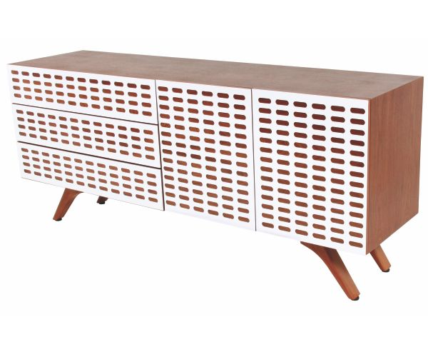 DT Retro Server - this option is in Natural Mahogany with a White Perspex front. Also available right now in store is our Black & White Ebony Stained version! #furniture #retro #wood #sideboard