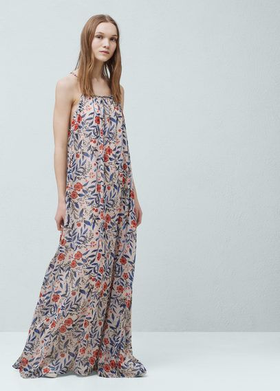 Long dress with a flowered print |  MANGO