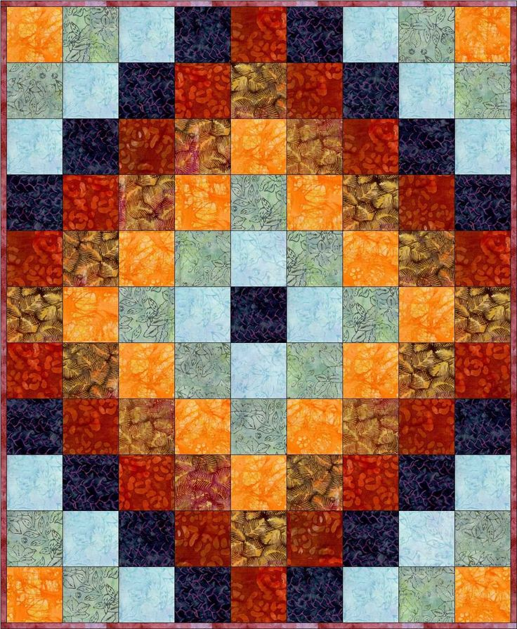 This easy to sew around the world beginner quilt top kit has beautiful batik fabrics in a ...
