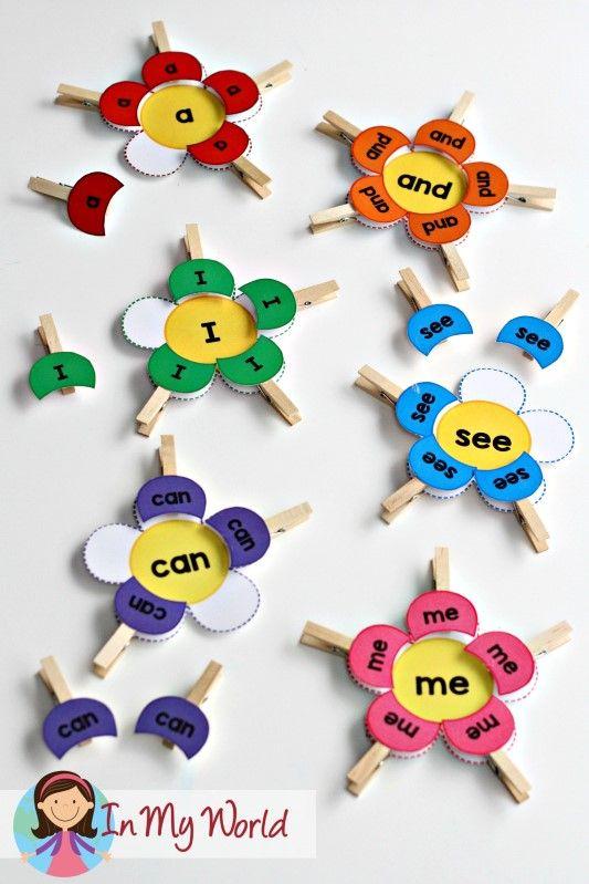 FREE Spring Preschool Centers Sight Word Flower Petal Match