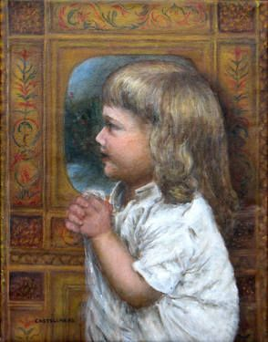 Toddler in Profile To purchase a reproduction, go to: http://fineartamerica.com/featured/little-girl-in-white-sylvia-castellanos.html