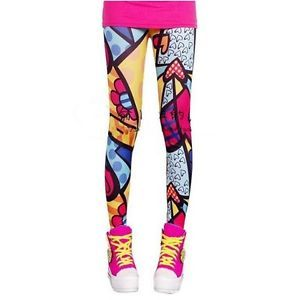 ROMERO BRITTO style LEGGINGS OS XS S M art hearts polka dots flowers punk colors
