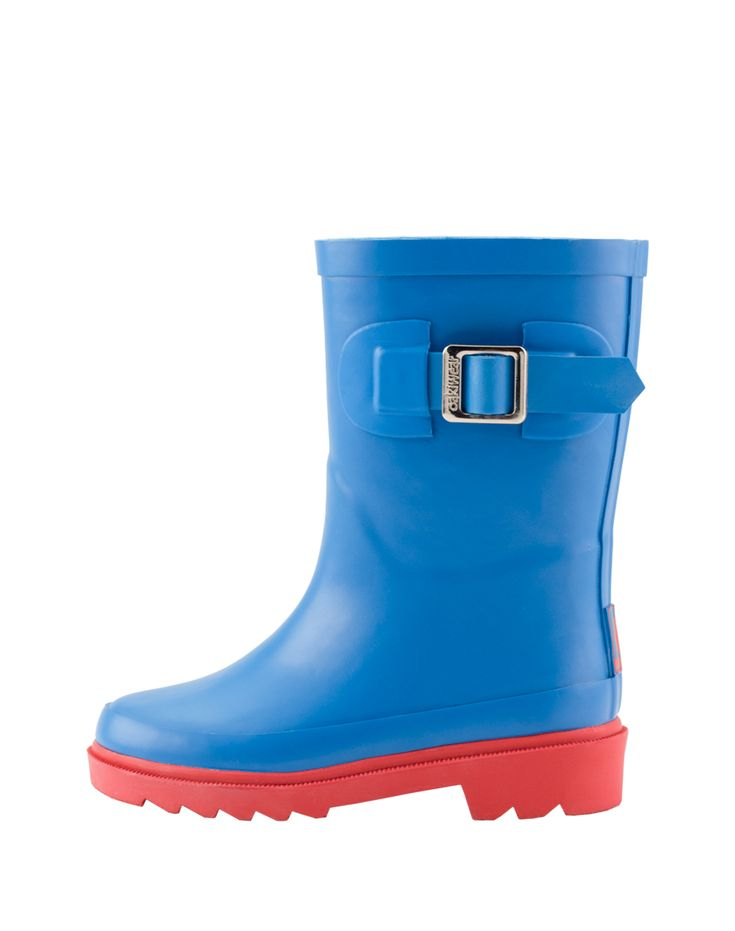 Kid's Buckle Rubber Rain Boots Bright Blue & Red | Oaki - Rain Gear, Kids rain suits, kids waders, kids rain gear, and kids rain coats