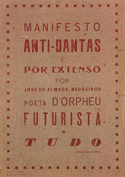 Manifesto Anti-Dantas, 1915 publicado no segundo número da Revista Orpheu