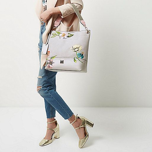 Grey floral embroidered slouch bag - shoulder bags - bags / purses - women