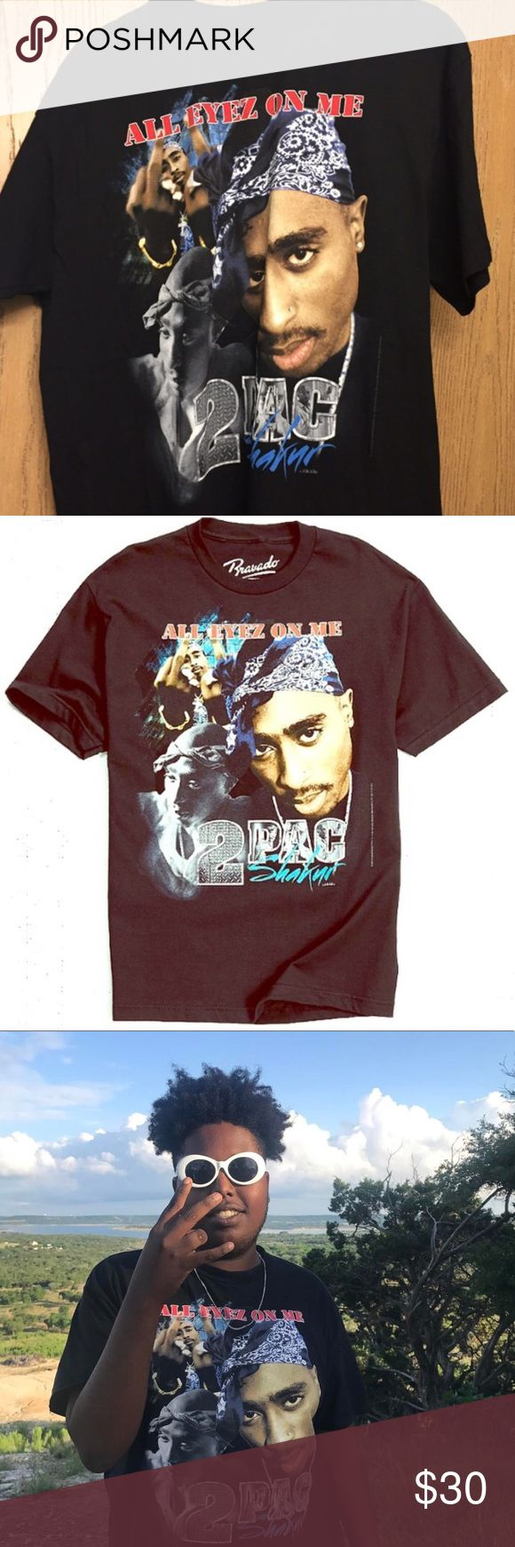 Tupac all eyes on me dope unisex oversized tee!! This is never worn brand new condition, bought from another posher. They listed as vintage so I'm not sure where it's from but used Urban outfitters for Exposure. This shirt is super cool on ladies & gents as you see above. 🤗🤗🙌🏽 Urban Outfitters Tops Tees - Short Sleeve