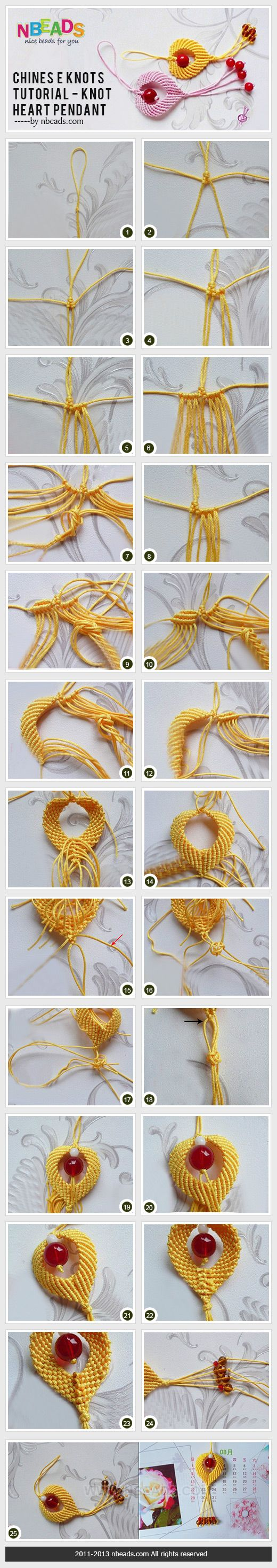 chinese knots tutorial - knot heart pendant