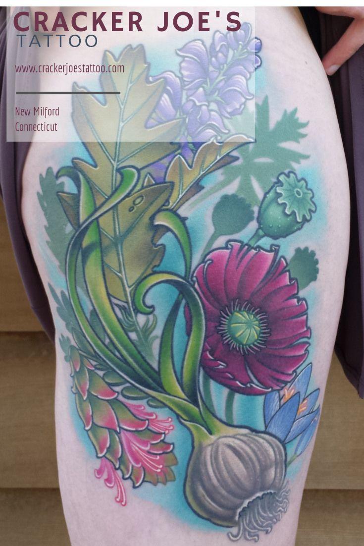 Colorful Flower Tattoo With Garlic By Ct Tattoo Artist Cracker Joe