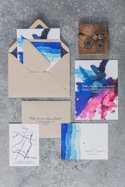 I love these watercolor invites. So bold.